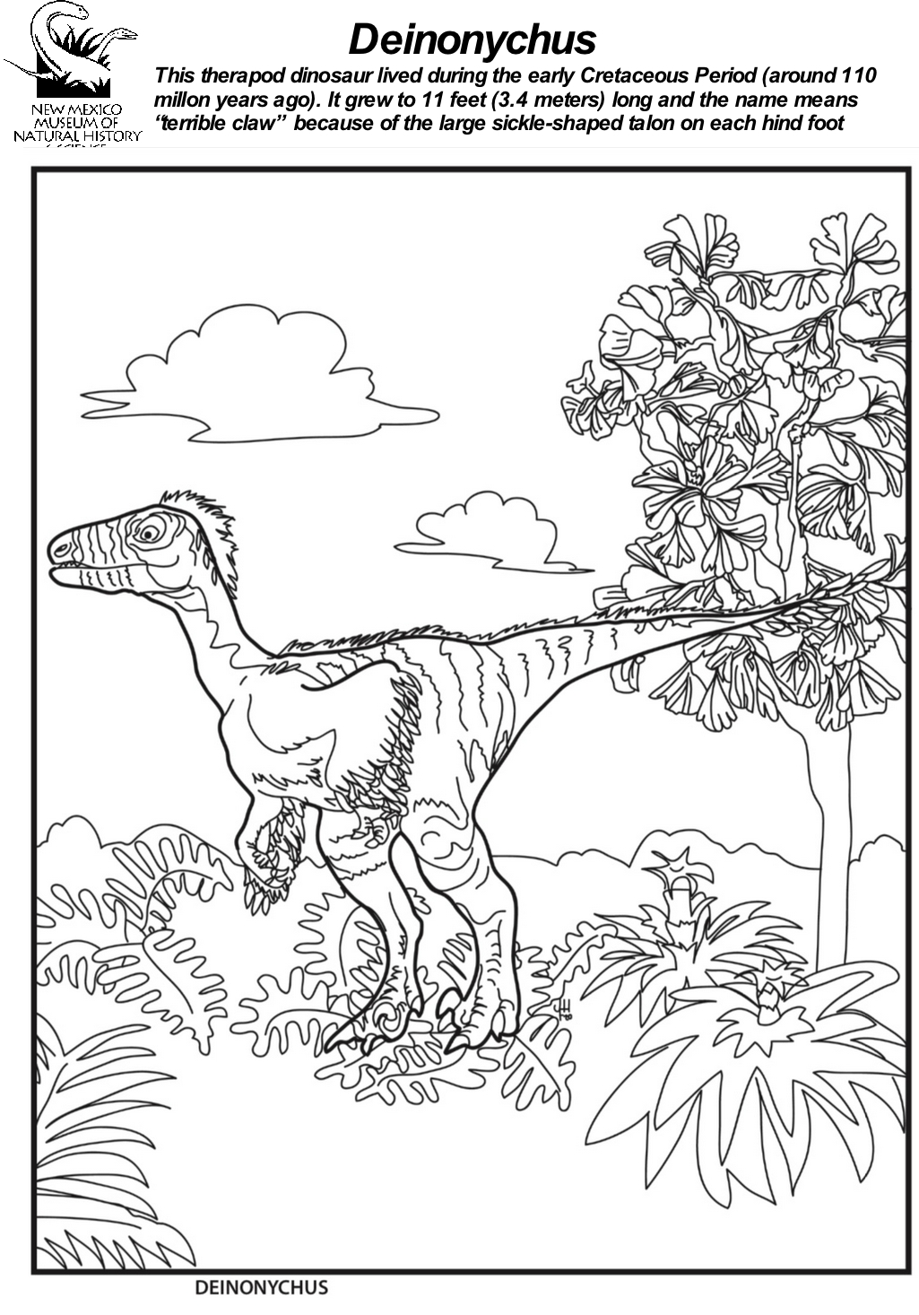Deinonychus  Coloring Sheet