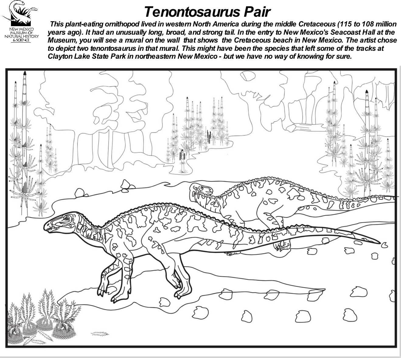 Tenotosaurus  Coloring Sheet