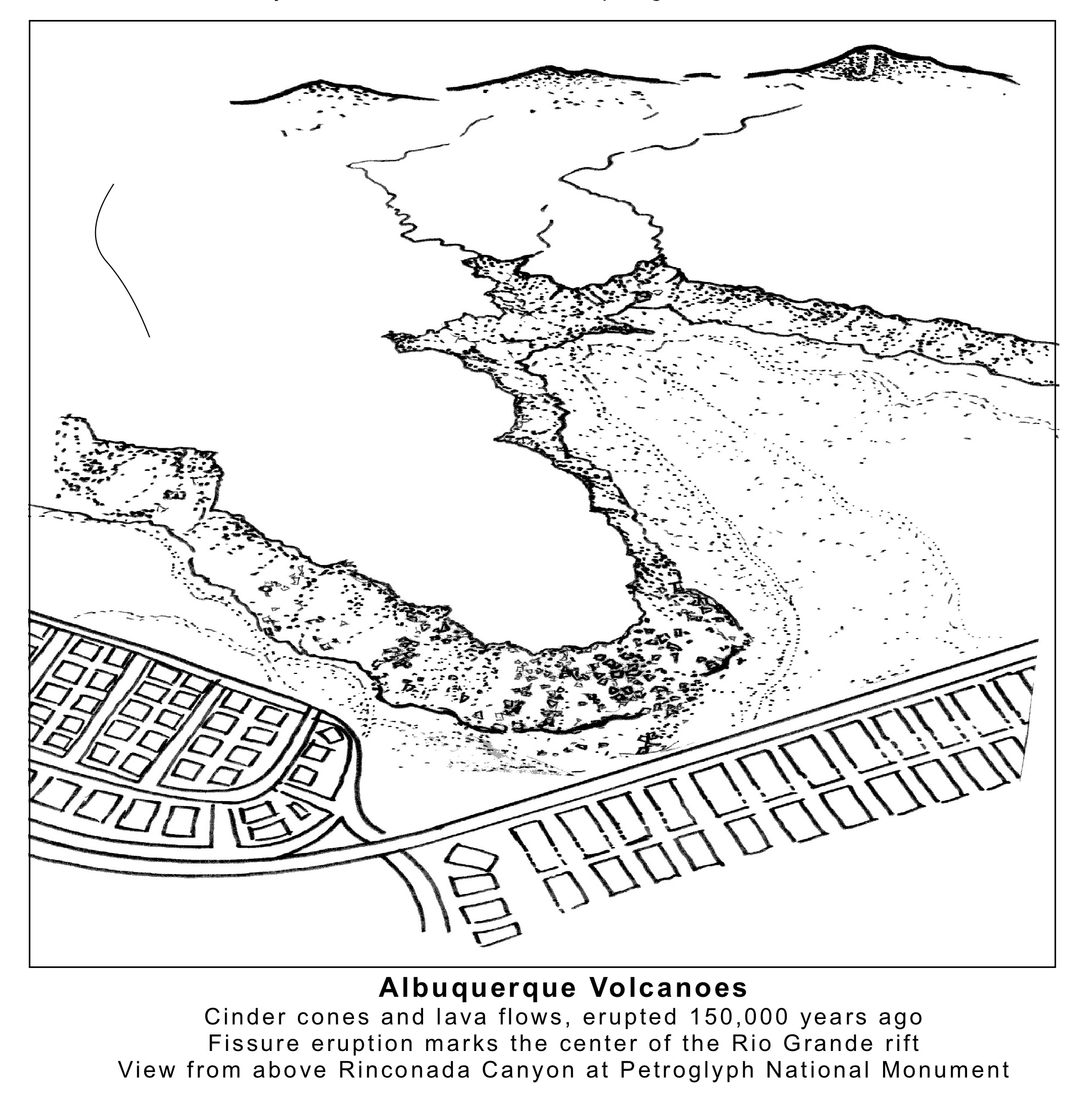 Albuquerque Volcanoes Coloring Page