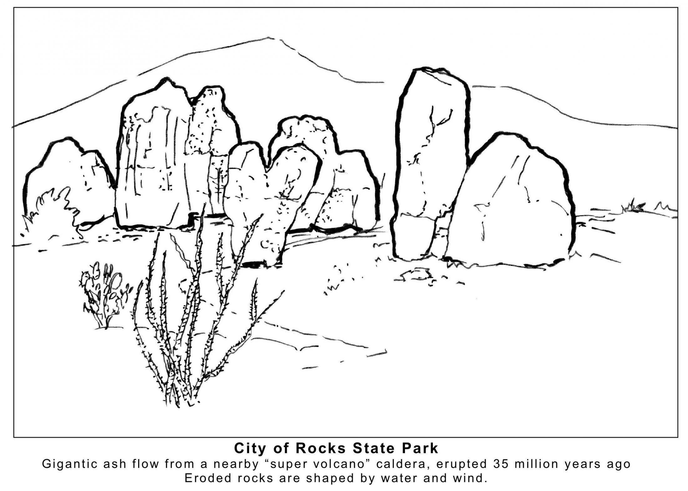 City of Rocks Coloring Page