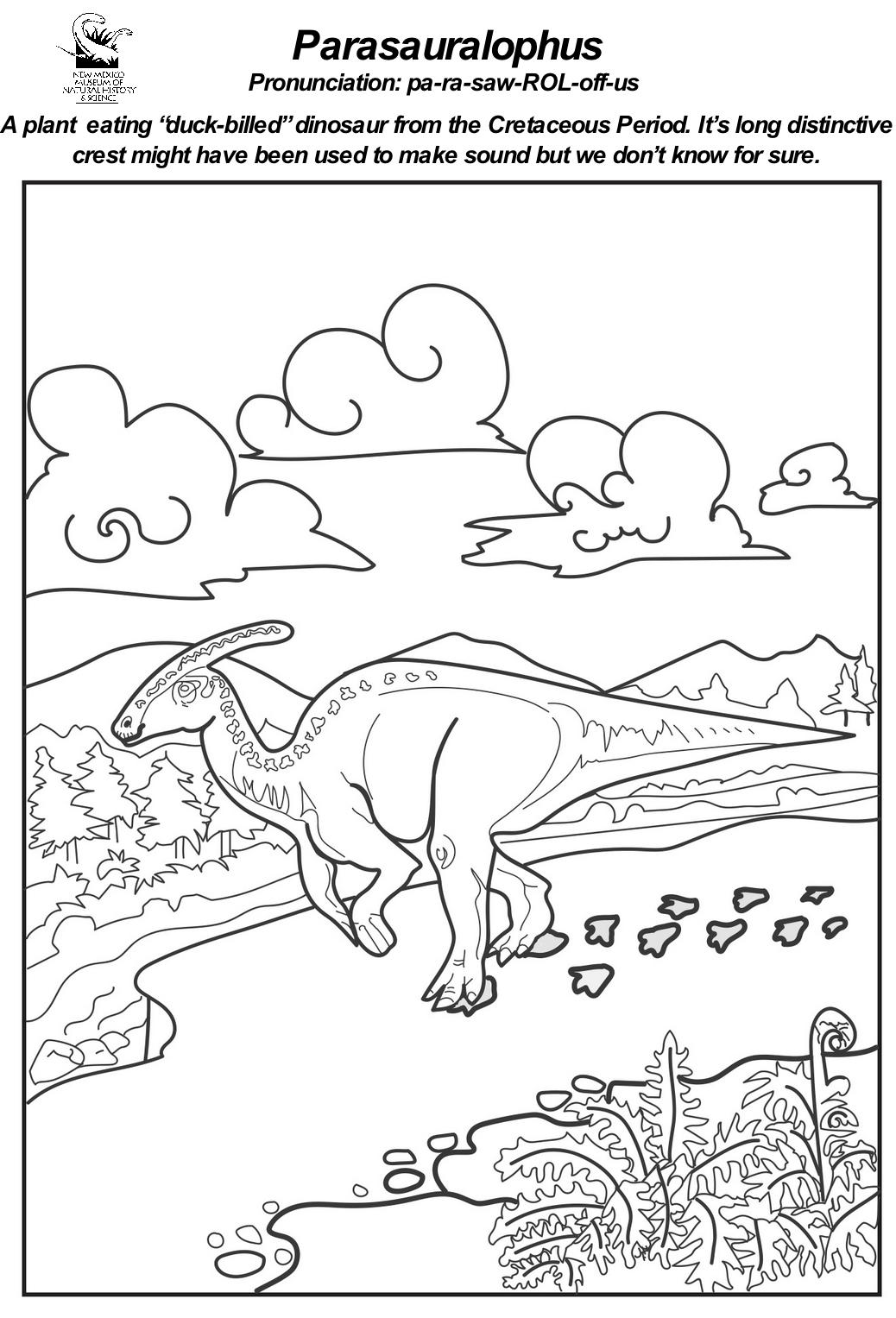 Parasaurolophus  Coloring Sheet