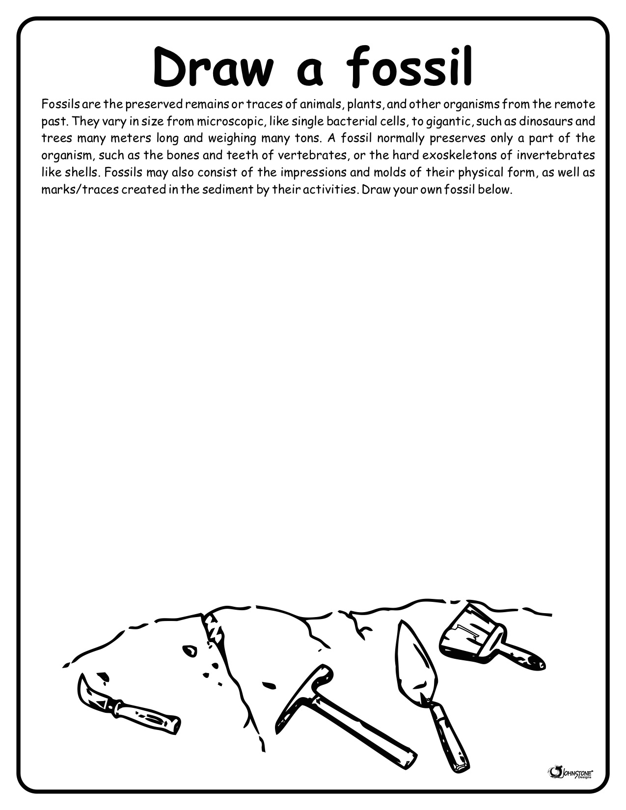 Draw a Fossil  Coloring Sheet