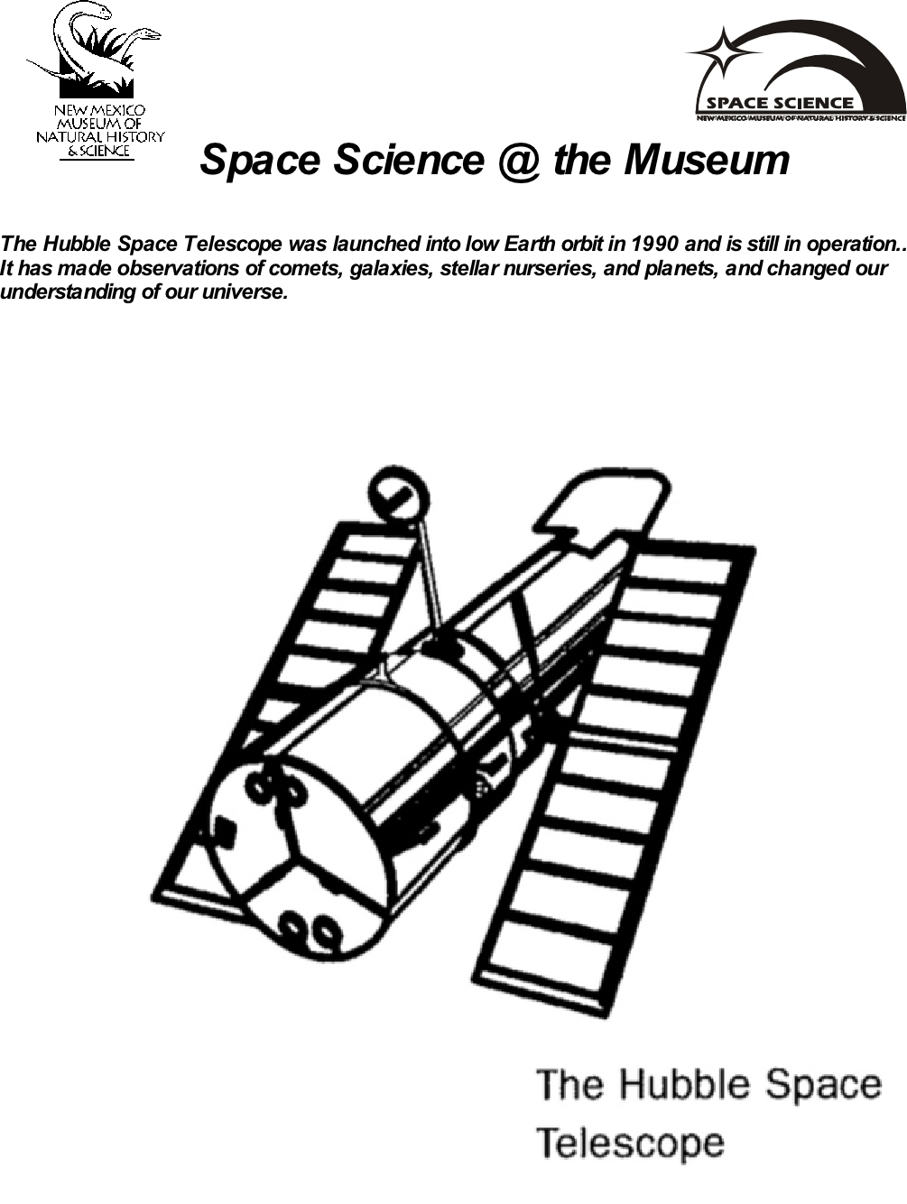 Hubble Coloring Sheet