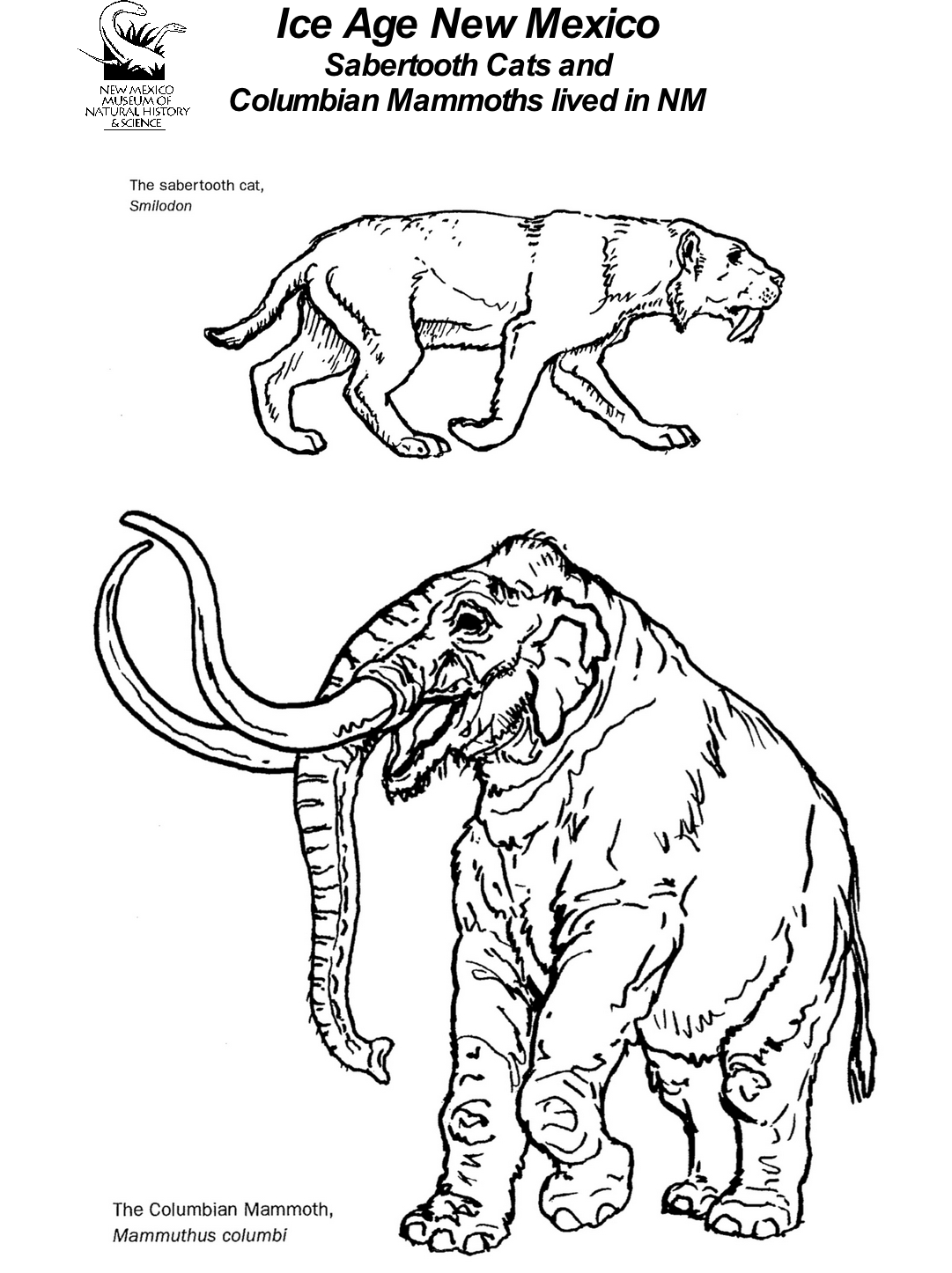 Mammoth and Sabertooth Cat  Coloring Page