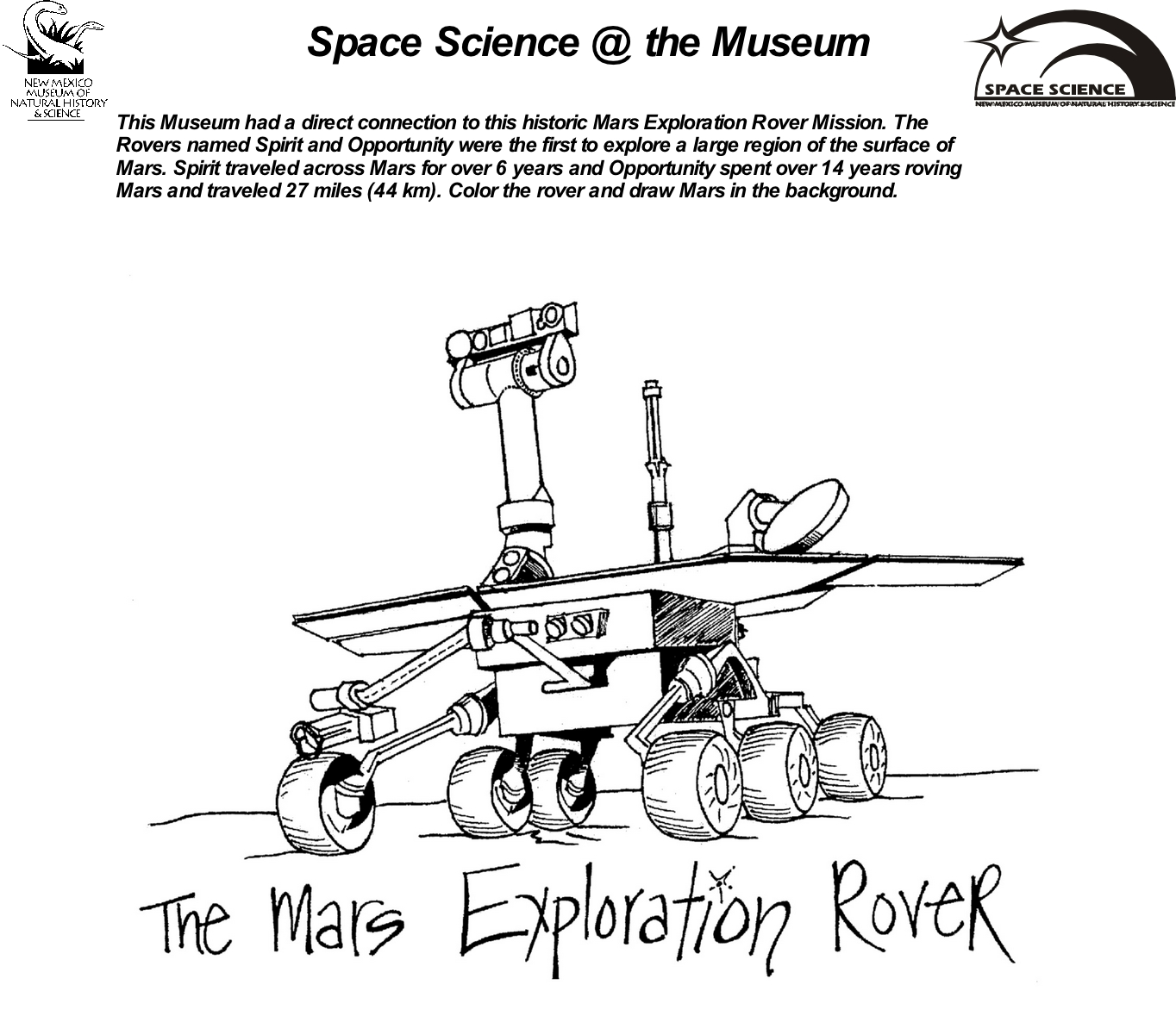 Mars rover Coloring Sheet 2
