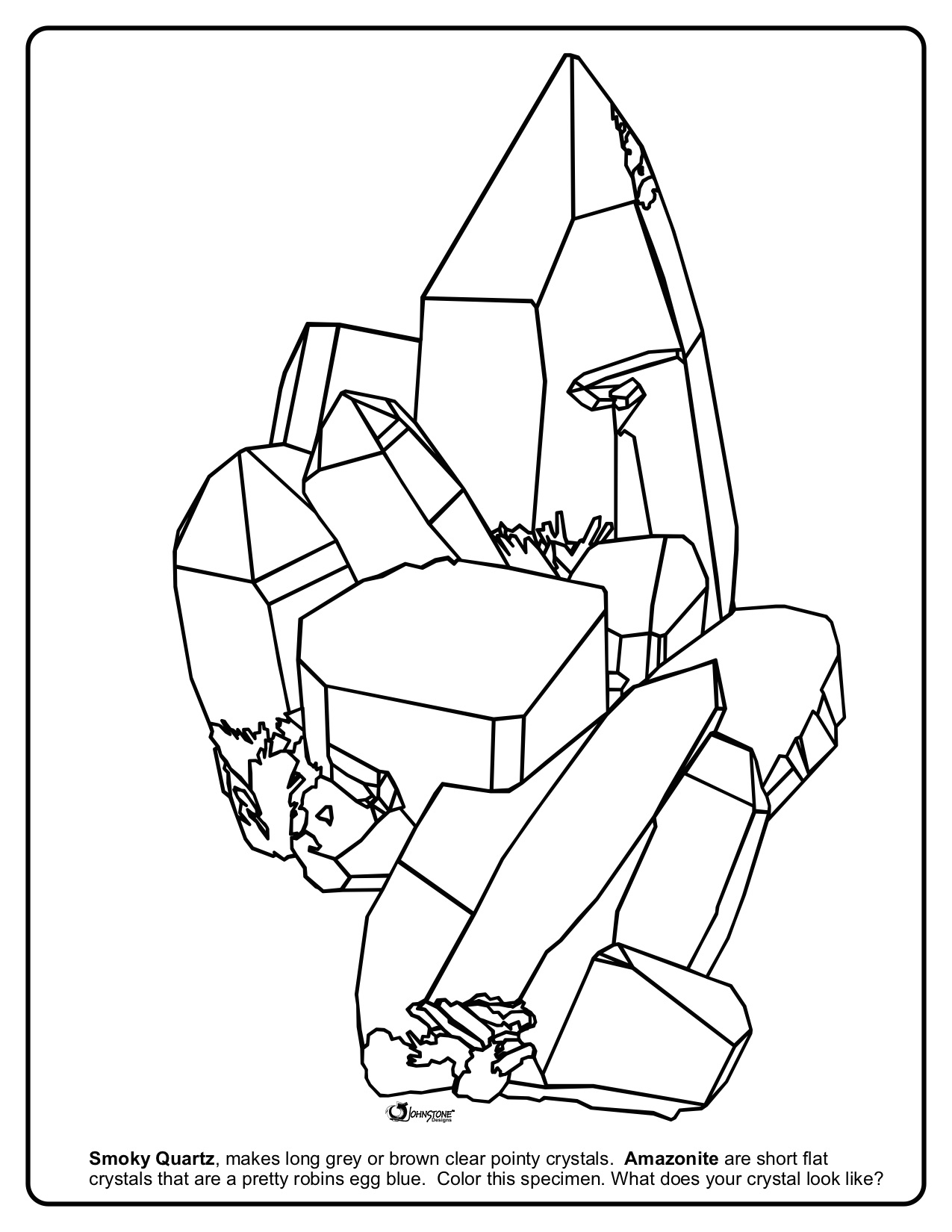 Smokey Quartz and Amazonite Coloring Page
